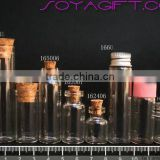 16mm Clear Glass Wishing Bottle With Cork Stopper and Test Tube for Lab