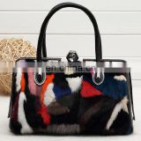 Real mink fur lady handbag multicolor fur leather bag for women fashion