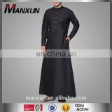 Black High Quality Front Button Thobe Stiff High Collar Fashion Shirts Islamic Men Clothing Jubah