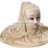 Justkartit Women's Dark Beige Colour Saudi Arabia Niqab / Casual Wear Golden Stone work Hijab Headscarf / Burkha Niqab Designs