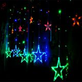 AC220V 2M 12PCS Star LED Curtain string light 8 Modes Christmas Fairy String Light for Home Party Wedding