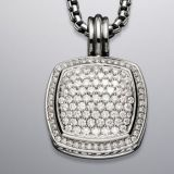 925 Sterling Silver 17mm Pave Diamomnd Albion Pendant Enhancer