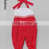Wholesale boutique clothing in China baby red polka dot halter jumpsuit