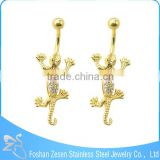 Vintage surgical steel gecko navel piercing white crystal gold belly button rings