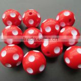 Cheapest hot sale Halloween Red 12mm to 24mm chunky resin polka dot beads for Kids chunky bead necklace