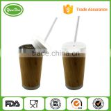 Double wall stainless steel bamboo thermal travel tea mug with 100% natural bamboo                                                                         Quality Choice