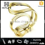 2016 new beautiful ladies design jewelry yellow gold snake bangle wrap on wrist