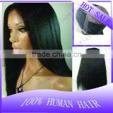 In stock Cheap Wholesale 100% Brazilian virgin human hair 20 inch Yaki straight 1b# Full lace wigs for black women Free shipping