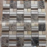 Brown marble mixed glass mosaic tile