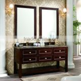 Modern freestanding soild wood bathroom furniture, wooden home furniture, wooden hotel furniture with ceramic basin