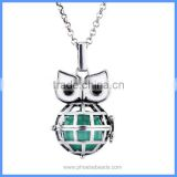 Hot Jewelry Cute Owl Metal Hollow Cage Chime Box Pendant Maternity Pregnancy Necklace With Musical Sound Bell Ball BAC-M065