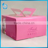 White paperboard packing box for cake white card box with pvc window pink box with handle
