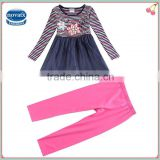 (HG5876)Nova new arrival kids clothing sets Autumn-spring children baby girls dress with long pants
