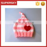 V-34 cute handmade knit pattern knotted newborn stripe winter baby beanie hat cap with heart