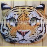 creative lovely cartoon double print Xl 12.5x12cm 3D solid tiger leopard lions kids plush small change coin handbag