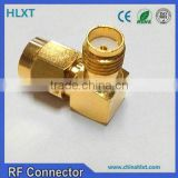 factory price high frequency gold plated sma rp female to sma male adapter, right angle connector terminals