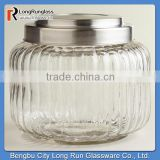 LongRun 34oz Charming Vintage-Style Ribbed Glass Jar Special Shape Glassware with OEM Design