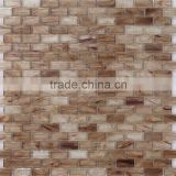 JY-G-11 Foshan mosaic distributor glass strip with brown color mosaic brick Interior art mosaic