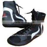 Rubber Outsole EVA Insole Play Boy Cloth Lining Black and White Leather and 3D Mesh Comfortable Boxing Shoes