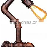 Factory Wrought Industrial Table Lamp Loft Cube Water Pipe Table Lamp Garage Iron Desk Lamp