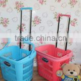 Shopping trolley basket with colourful baskets with pulling handle and wheels. Selling with cheap price!.