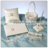 2014 Hot sale elegant white satin wedding guest book and pen set with rhinestone / ring pillow / flower basket / garter whosale