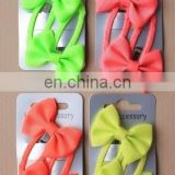 neon color fabric fashion girls snap hair clips for bow
