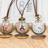 Leather chain european style pocket watch