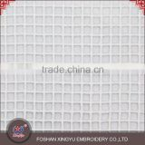 Top quantity new product polyester chevilled silk plaid white lace fabric decoration for lady clothing