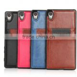 Fashion design PU leather mixed color case with card slot for Sony Z5