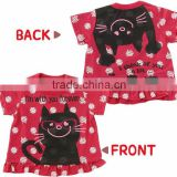 infant wear Japanese wholesale high quality cute fashion half sleeve cat printed shirts summer baby clothing for girl