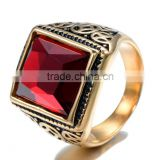 Turkish ring for man 316 stainless steel ring plated gold color with black enamel