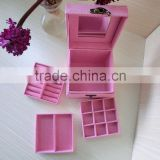 high quality lint velvet difference grades jewelry box with mirror ring earning gift box necklace saving box