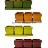 terracotta set of 3 square herb pot for mini plant