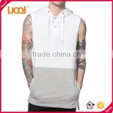 Fashion Design Mens Sleeveless Gym Hoodies OEM Pullover Color Contrast Hoodies Gym & Fitness Wear