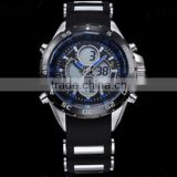 Black plated arabic bezel digital men silicone rubber bracelet watch