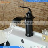 Oil Rubbed Bronze Black Brass Deck Mounted Single Handle Single Hole Bathroom Waterfall Basin Mixer
