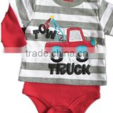 customized OEM baby clothing 2015 white and gray stripe top Long Sleeves Baby Romper bodysuit
