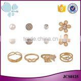 Factory wholesale god plated zinc alloy rhinestone ring earring fashion women jewelry set                                                                                                         Supplier's Choice