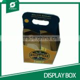 CUSTOM BRAND BEVERAGE DISPLAY BOX KRAFT PAPER MATERIAL 4 BOTTLES BEER CARRIERS WITH HANDLE