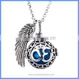 Angel Wing Peace Symbol 3D Letter Metal Hollow Cage Chime Box Musical Sound Bell Ball Pendant Women Pregnancy Necklaces BAC-M054