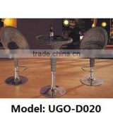 Comfortable Cushion on the Rattan Bench Chair and Glass Table for Red Wine UGO Furniture
