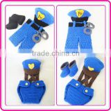 handmade baby boy toddler clothes sets crochet policeman outfit for newborn baby