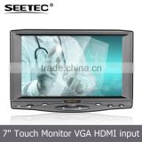 5-wire resistive touch optional video audio input tft display 7 inch car vga/hdmi monitor
