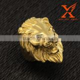 In Stock Cool Design Lion Head Hip Hop Rings Animal Head Fashion Finger Gold Rings with the Lion