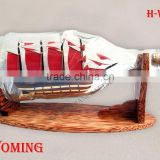 WYOMING SHIP IN HENESSY BOTTLE, UNIQUE NAUTICAL STYLE HANDMADE IN VIETNAM - WOODEN SHIP MODEL