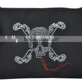 rhinestone cross& bones pattern zipper purse,small zipped items bag,easy taken away promotiona bag