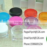 3g Black Plastic jar container with plastic lid cap