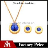 Fancy Bridal Stainless Steel Crystal Earring Gold Plated Necklace Blue Stone Jewelry Set
