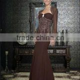 Long sleeve sweetheart appliqued beaded floor length chocolate custom-made mother of the bride dresses CWFam4789